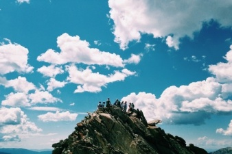 group on a mountain